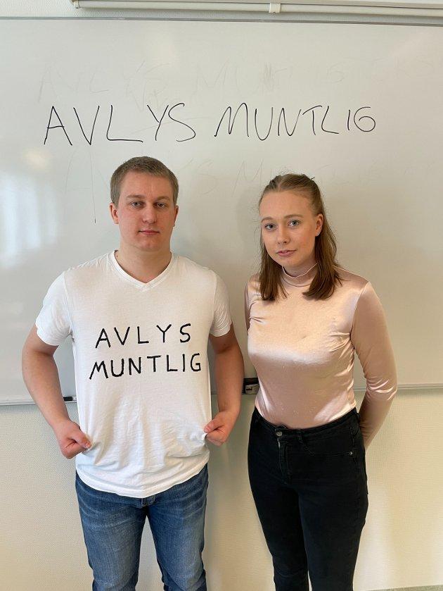 – En eksamen skal være lik, rettferdig og helst nasjonal, og en gjennomføring av en eksamen dette skoleåret vil bryte helt med disse prinsippene, skriver avgangselever på videregående Marius Begby og Andrine Noreng Olsen.