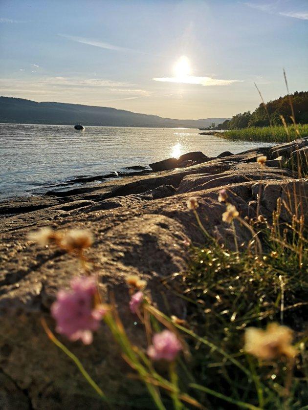 Solnedgang ved vannkanten