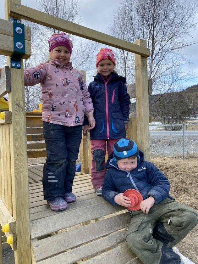 Brev frå Heggebø Friluftsbarnehage: Frå venstre: Solvår (5), Eivor (5) og Elias (5). Foto: Barnehagen