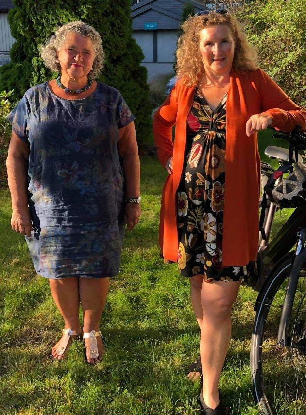Fra venstre: Tidligere rektor ved Bjørnholt videregående skole Else Birgitte Roscher-Nielsen sammen med Gunhild Rønningen fra Nordre Follo Høyres Kvinneforum.