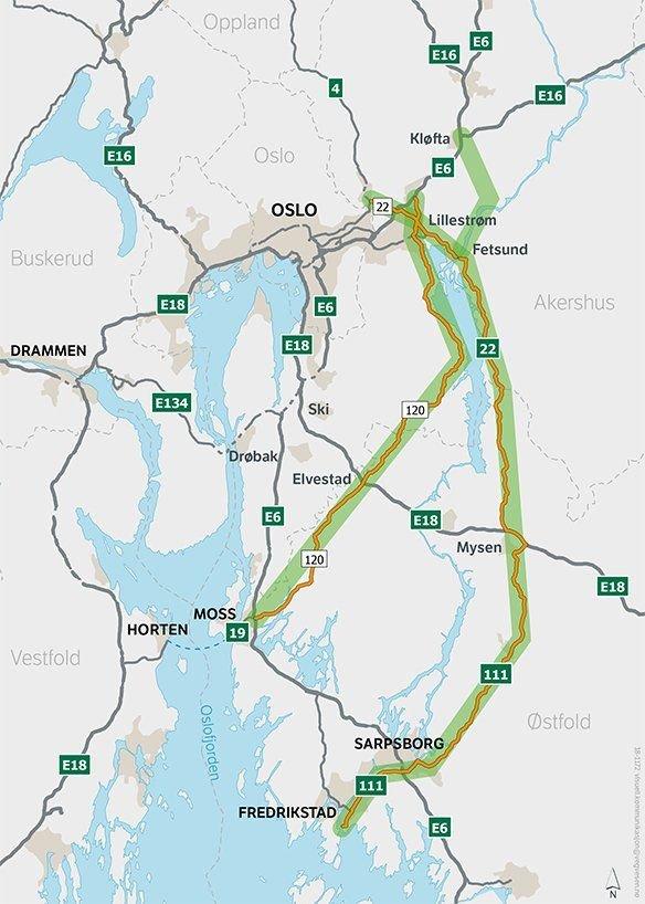 Område for konseptvalgutredning veiforbindelse øst for Oslo