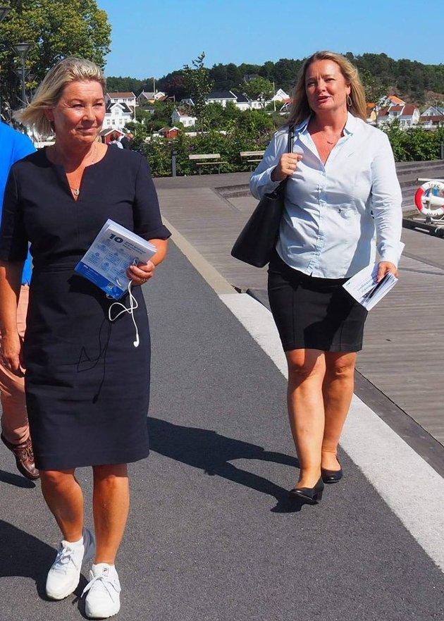 Høyrekvinner: Justis-og beredskapsminister Monica Mæland (t.v) sammen med Torunn Ostad.