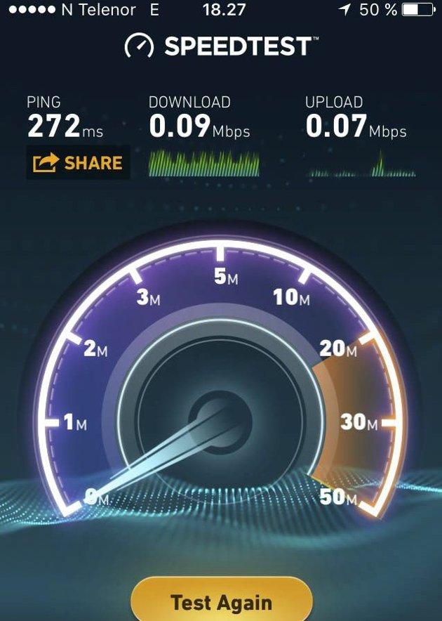 ZZZZ: Ikke mye fart å skryte av i Ookla sin Speedtest-app.