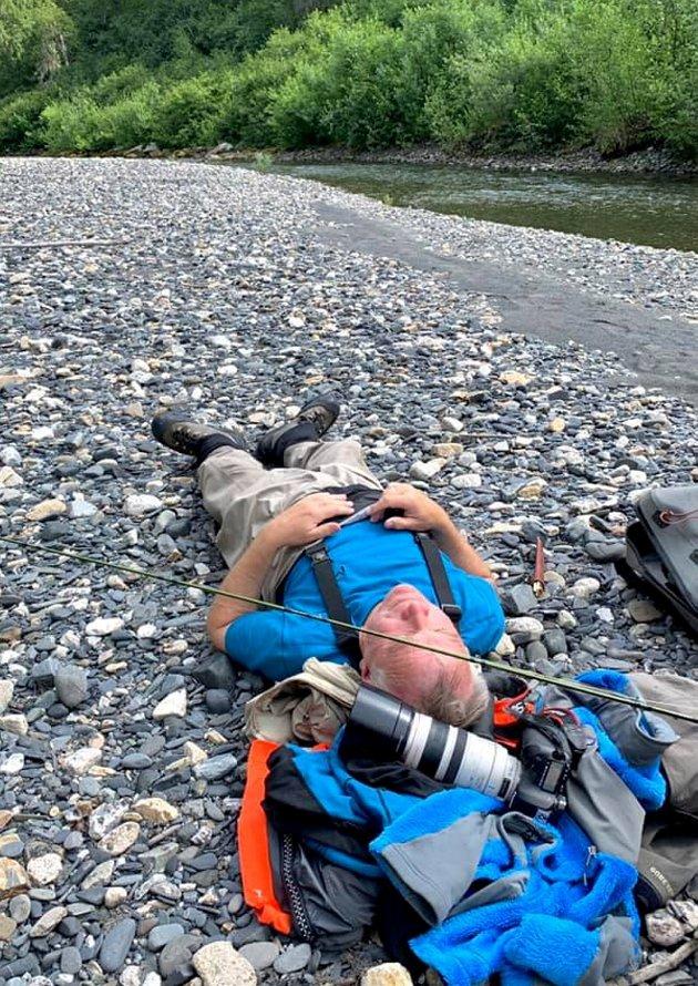 SLITEN: Herlig for en sliten fotograf å ligge på ryggen noen minutter.