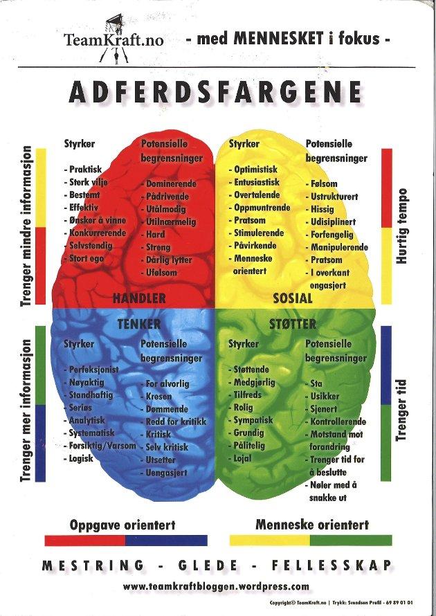 HVILKEN FARGE HAR DU?: Denne oversikten gir deg en pekepinn på hvilken farge som beskriver deg best. Hvilken farge er deg? Selv er jeg mest gul og en del rød. Illustrasjon: Teamkraft.no
