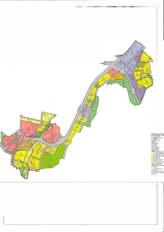 Plankart for områdeplanen Seiersten-Dyrløkke ved 1.-gangs behandling.