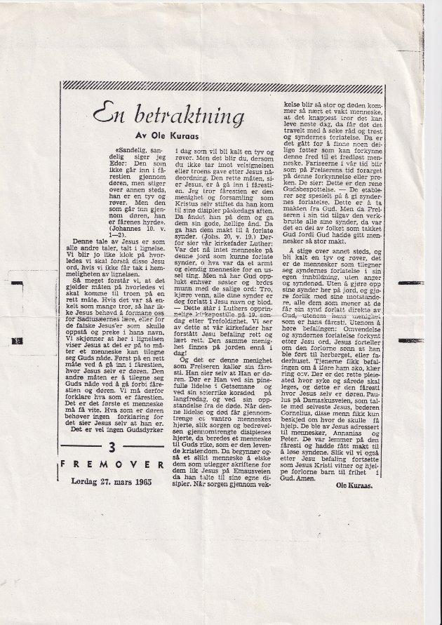 Dette innlegget sto første gang på trykk i Fremover 27. mars 1965.