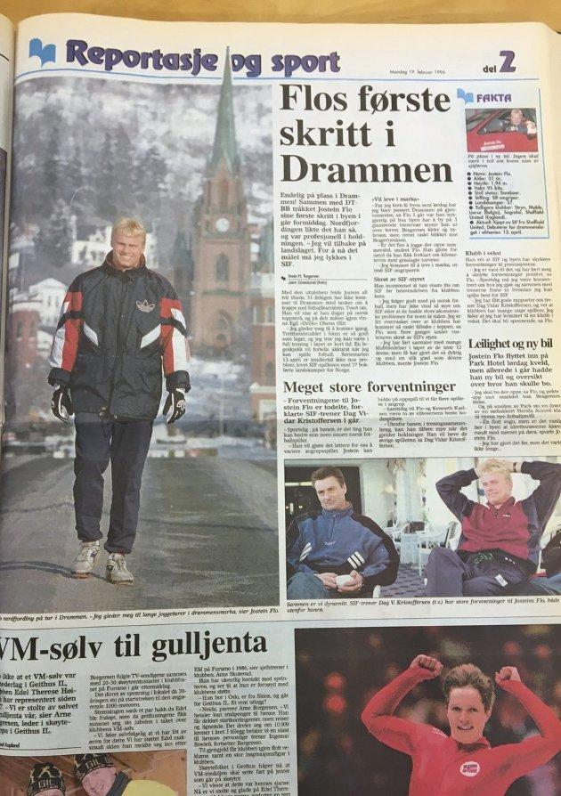 19. februar 1996: Faksimile av Drammens Tidenes oppslag på sportssidene, etter Jostein Flos første besøk i byen.