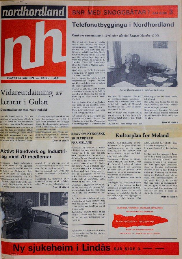 Første utgåve av Avisa Nordhordland, som kom ut 20. november 1974.