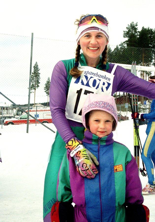 STOLT AV MAMMA: Ingvild (5) var veldig stolt av mamma Marthe Flugstad som vant det internasjonale rennet Storlonløpet i mars 1996.
