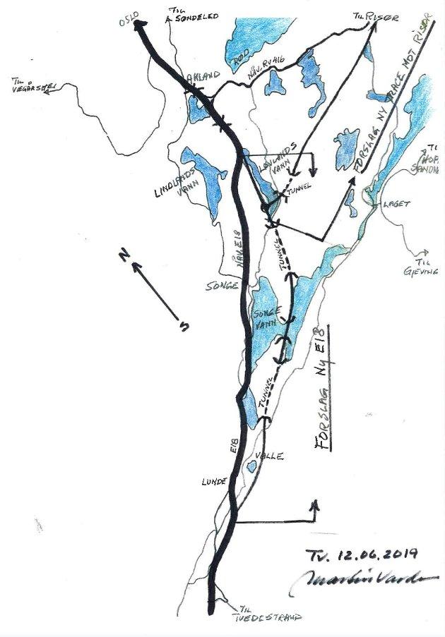 Ny E18: Martin Varden mener trace for E-18 som motorvei i større grad må vurderes i forhold til eksisterende tettsteder. Illustrasjon: Martin Varden