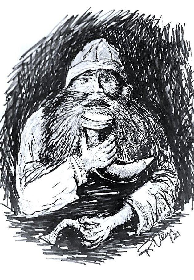 LEVANGSBYGG?: Siden Roy Vega ikke har klart å oppdrive foto av kong Geite, har han selv tegnet en illustrasjon av sagnkongen med innelue.