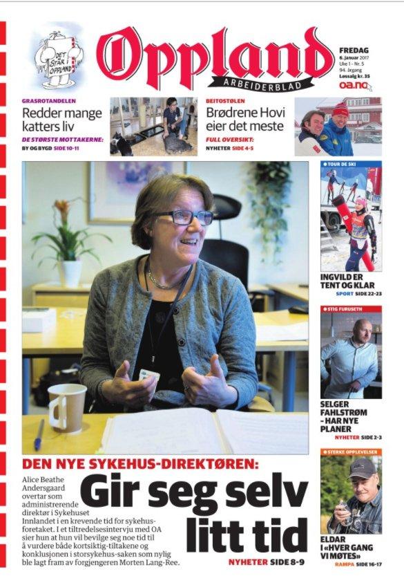 6.JANUAR – NY SYKEHUS-DIREKTØR: Alice Beathe Andersgaard overtok som administrerende direktør i Sykehuset Innlandet etter Morten Lang-Ree. Etter en innledende tenkepause har prosessen gått taktfast videre i retning av et storsykehus ved Mjøsbrua, men planen om å legge ned rehabiliteringsenheten Solås i Gjøvik er reversert.