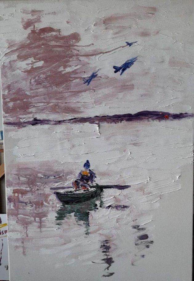 """Den øyredøvande stilla"""" - Olje på lerret, 95x60 cm, 2021, av Ivar Jørdre"""