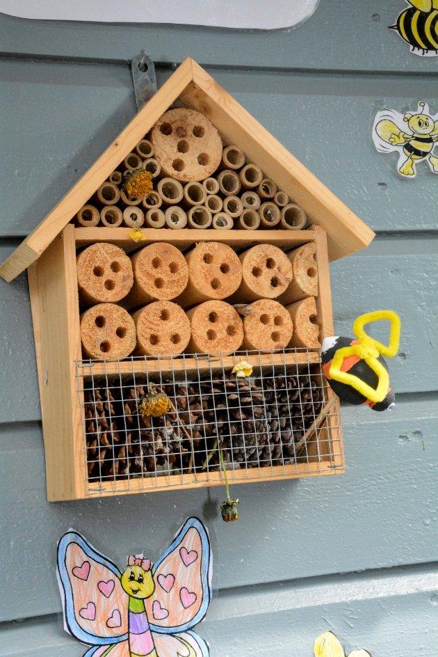 SETT OPP INSEKTSHOTELL: Det er rådet fra Hege Wærsted i MDG Modum, slik at  humler og andre insekter kan søke ly.