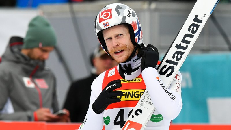 Robert Johansson from Norway reacts after his ski flying jump during the Ski Jumping World Cup in Bad Mitterndorf, Austria, Sunday, Feb. 16, 2020. (AP Photo/Kerstin Joensson)