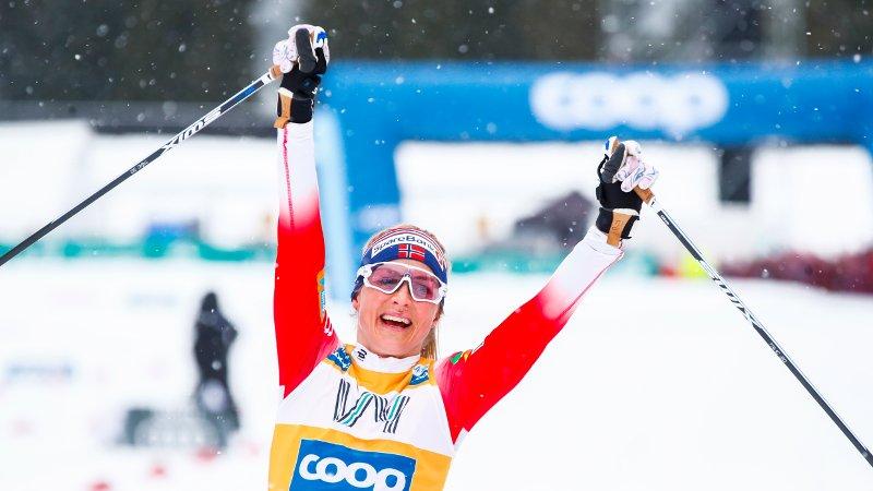 Trondheim 20200223.  Therese Johaug vinner kvinnenes Ski Tour i Granåsen i Trondheim søndag. Foto: Terje Pedersen / NTB scanpix