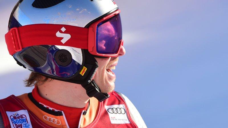 Norway's Henrik Kristoffersen crosses the finish line of the second run of an alpine ski, World Cup men's giant slalom in Adelboden, Switzerland, Saturday, Jan. 11, 2020. (AP Photo/Marco Tacca)