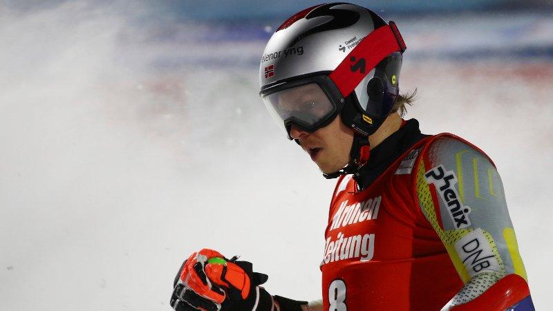Norway's Henrik Kristoffersen reacts during an alpine ski men's World Cup parallel giant slalom in Lech/Zuers, Austria, Friday, Nov. 27, 2020. (AP Photo/Marco Trovati)