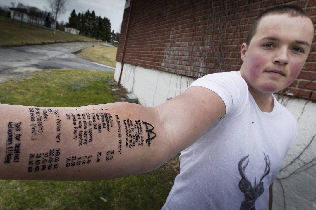 mcdonalds kart norge Siste   Stian (18) tatoverte McDonalds kvittering på armen! mcdonalds kart norge