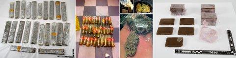 Deler av dette beslaget, tre kilo hasj og ni kilo marihuana, ble funnet i kofferten i bilen som ble stanset på Vaksdal.