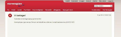 Dette var beskjeden på Norwegians nettsider tre timer etter at salget skulle starte.