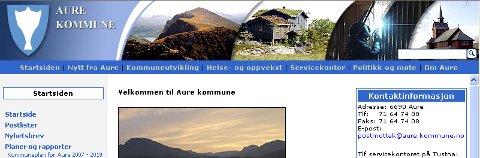Slik ser Aure kommunes nettsider ut i dag. De får nye sider i morgen.