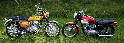 MC-HISTORIE: Slik ser 1900-tallets flotteste motorsykler ut, Honda CB 750 Four og Triumph Bonneville. Eierne av disse to er Erik Nygård og Per E. Dahle. FOTO: GEIR EGIL SKOG