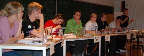 Debattdeltagerne fra venstre. Ingeborg Steinholt (Rødt), Stian Skaalbones (SV), Helene Kaltenbones (Ap), Tarjei torp (Sp), Kristine Brattli (KrF), Nikolai Endresen Dahl (V), Lars Johansen (H) og ulrikke Holmøy (FrP)