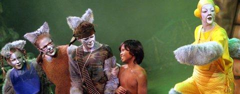 """ULVEGUTTEN: Ulvegutten Mowgli, spilt av Christian Eidem, finner seg vel til rette i ulveflokken, også på scenen i Skedsmo Amatørteaters oppsetning av Rudyard Kiplings """"Jungelboken""""."""