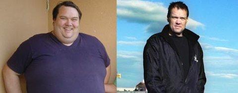 Bildet til venstre viser Kai-Arne Lind høsten 2003, 248 kilo og like før han la seg under kniven og fikk fjernet 80 prosent av magesekken. På bildet til høyre ser vi Kai-Arne slik han er i dag, kun 95 kilo.