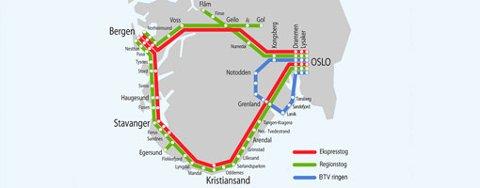 Slik ser Høyhastighetsringen for seg et fremtidig togrutenett i Sør-Norge (2007).