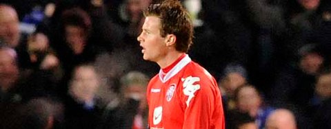 Petter Vaagan Moen fikk det ikke til på hjemmebane da Everton besøkte Brann (13.februar 2008), men scoret i returoppgjøret på Goodison Park (21.02.2008).