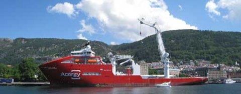 Skandi Acergy ligger ved festningskaien før dåpen 10. juli 2008.