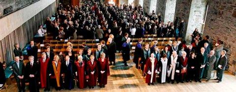 84 doktorer samlet til såkalt promosjon i Håkonshallen (25.01.2008).