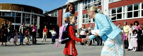 Kommunen lover full satsning på skole og oppvekstmiljø i budsjettplanen. Bildet er tatt på Kaland skole under skolestart i august.