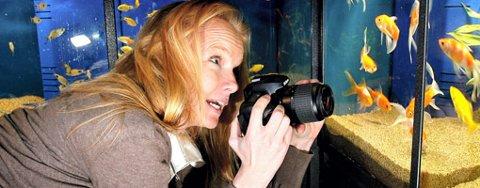 GULLFISKBOK: Anne Kvarvåg har skapt fortellingen om fiskene Rikke og Ruben som får seg en uventet sightseeing på Nedre Romerike, etter at de havner utenfor akvariet på Strømmen Zoosenter. FOTO: TOM GUSTAVSEN