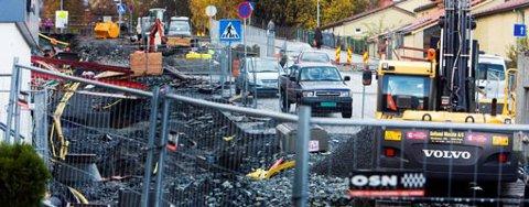 Gravearbeid i Slettebakksveien (27.10.2008).