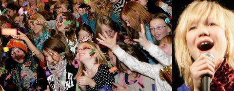 SKUTT MED KONFETTI: Stor jubel da publikum og band ble skutt med konfetti. BlackSheeps vokalist Agnete Kristin Johnsen fikk publikum med på allsang.