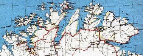Ved å ta i bruk planer fra 1939, skal man få betraktelig kortere avstander mellom flere steder i Finnmark. Illustrasjon: Finnmark Fylkeskommune fra 1939