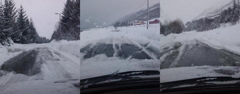 HULLETE: Her er noe av det som møter bilister på Kvaløya. Bildene er tatt onsdag morgen. Foto: Rune Larsen