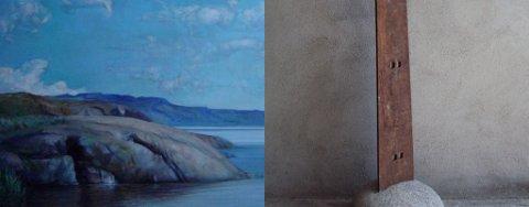 TYRIFJORDEN: Sigmund daSilva Liens maleri av Tyrifjorden og Marianne Brochs skulptur uten tittel skal vises på «Novemberutstillingen» i Drammen.