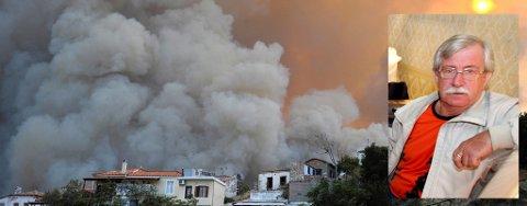 BRANN: Fredrik Kristiansen tilbringer ferien på Samos, og fikk nærkontakt med skogbrannen som førte til at hundrevis av turister ble evakuert.