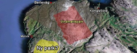 Det gule feltet viser omtrent hvor Finnmark Kraft ønsker å bygge vindmøller. Området heter Baikacearru. Området markert i rødt er der Varanger Kraft allerede har fått konsesjon til å bygge ut vindmøller.