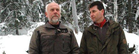 ARKIVFOTO: Knut Herland (t.v.) og Stein Erik Lauvås vil ha mindre ulv i kommunene og samarbeider nå for å få gjennomslag på stortinget.