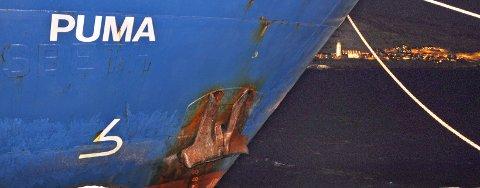 """Lørdag kveld gikk frakteskuta """"Puma"""" lekk utenfor Sørøya, og var da på retur fra Russland hvor den har losset atomavfall. Nå ligger skipet til kai i Hammerfest. Foto: Bjørn Egil Jakobsen"""