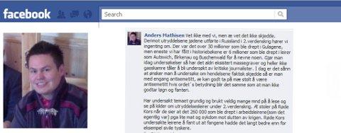 FRITTALENDE: Anders Mathisen mener man har blitt hjernevasket til å tro at jødeutryddelsen har skjedd.