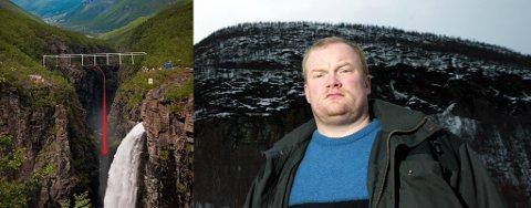 HOPPER I DET? Kåfjord-ordfører Bjørn Inge Mo utelukker ikke at han kommer til å hoppe i strikk fra den nye brua over juvet på bildet.