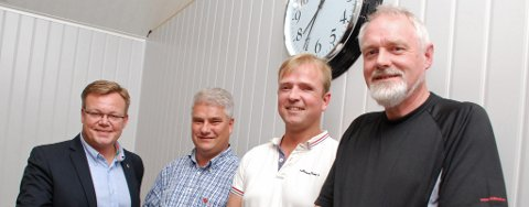 Høyre og Thor Hals (t.v.) skal samarbeide med Fremskrittspartiet, Senterpartiet og Kristelig Folkeparti. Her representert ved Ingolf Paller (Frp), Lars Holene (Sp) og Bjørnar Grønbeck (KrF).