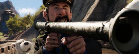 SPLITTE MINE BRAMSEIL!: Kaptein Haddock med bazooka? Det er bare et av mange høydepunkt i Enhjørningens hemmelighet.